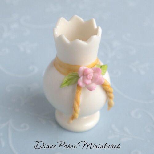 Porcelain Pottery Vase w// Capodimonte Shabby Cottage Roses Dollhouse Miniature