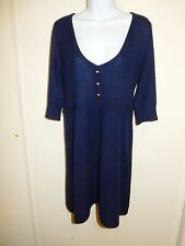 AQUA 100% CASHMERE NAVY BLUE SCOOP NECK 3/4 SLEEVES BABY-DOLL DRESS SWEATER M/L