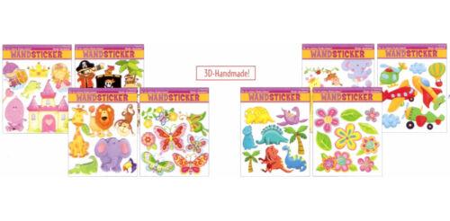Tiere Prinzessin Wandsticker Blumen Sticker Handmade Flugzeuge 3D Dinos