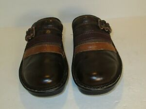 Naot-Mule-Clogs-Womens-Size-6-Brown-Leather-Slip-On-High-Heel-Shoes-sz-Eu-37