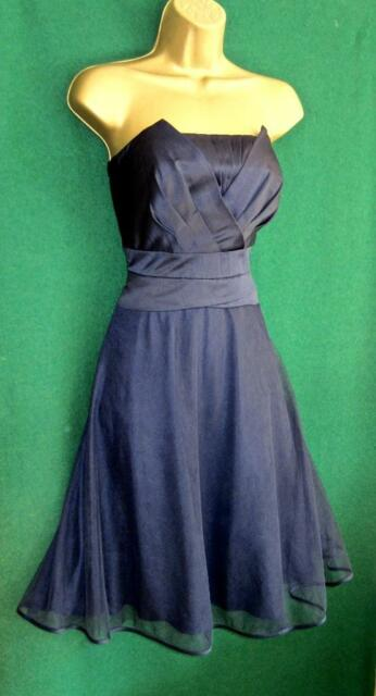 New MONSOON Uk 12 Blue Satin Tulle Strapless Short Fit&Flare Evening Prom Dress