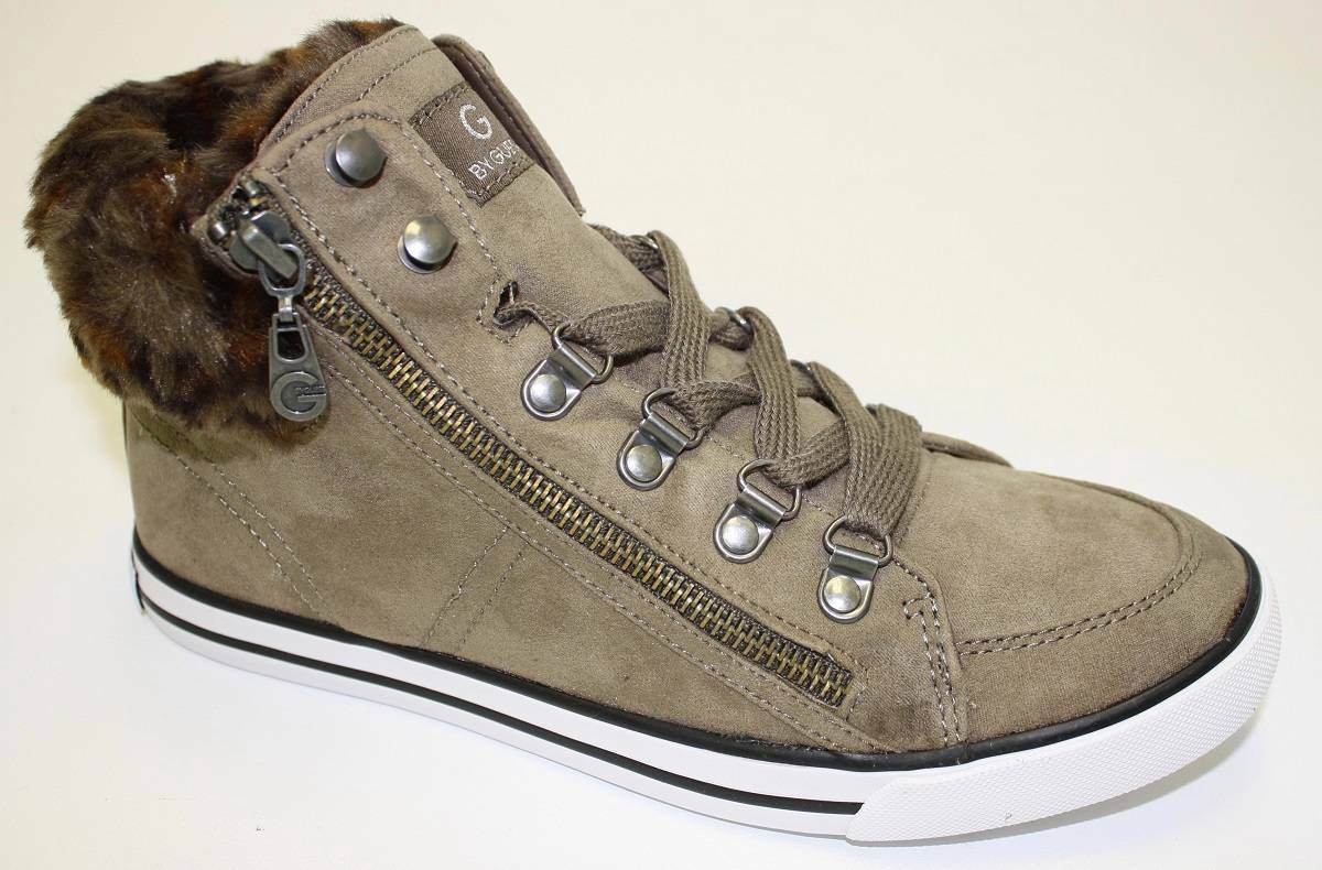 Women's G By Guess OSHAY High Top Fashion Sneaker Faux Fur Medium Natural  Taupe