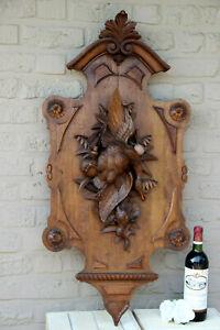 HUGE-38-5-034-Antique-SWISS-BLACK-forest-Wood-carved-wall-panel-hunt-trophy-rare