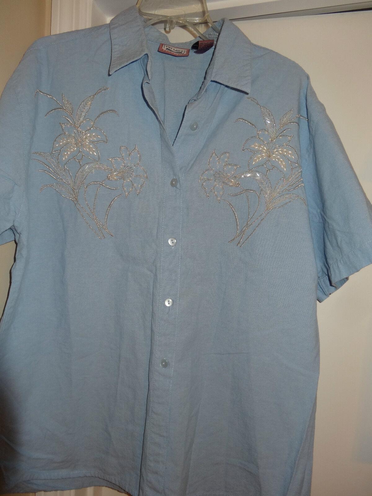 PREMIER INTERNATIONAL  Lite Blau Short Sleeve Top  Button Front w Collar Größe L