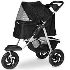 Paws & Pals Deluxe 3-Wheel Foldable Pet Stroller - Black (PTST-05-BK)
