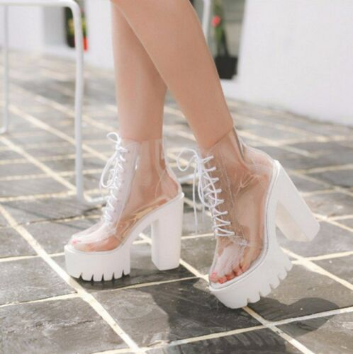 Womens Transparent Chunky High Heels Clear Ankle Boots Lace Up Platform Shoes F1
