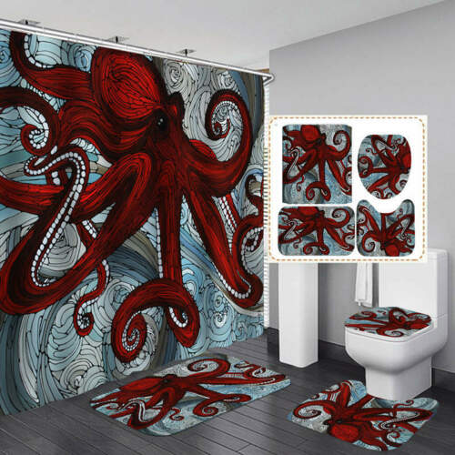 Red Octopus Shower Curtain Bath Mat Toilet Cover Rug Bathroom Decor