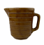 thumbnail 1 - Vintage-USA-Pottery-Stoneware-Brown-Glaze-Ribbed-Water-Milk-Batter-Gravy-Pitcher
