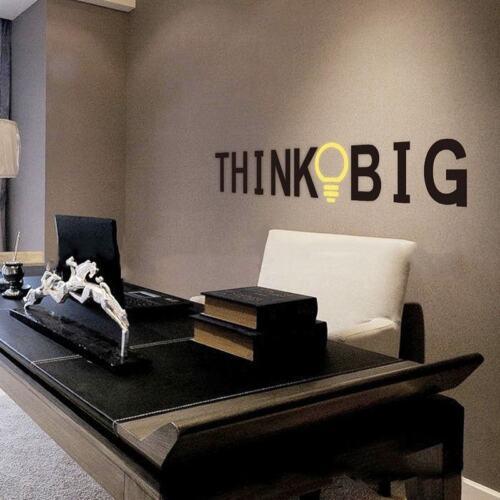 Art Vinyl Think Big Citation Autocollants Muraux Inspirational amovible Home Decal