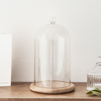 Glass Cloche Bell Jar Display Dome With Bamboo Base - 8 X 5
