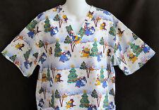 Disney Winnie Pooh Christmas Scrub Top M Nurse Aide Uniform Piglet Eeyore Winter