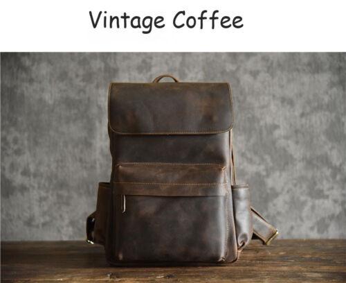 Designer Natural Cow Leather Large Men/'s Backpack Retro Laptop Notebook Backpack