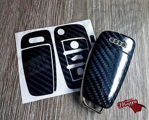 Black Carbon Fiber GLOSS Key Wrap Cover Audi Remote A1 A3 A4 A5 A6 A8 TT Q3 5 Q7