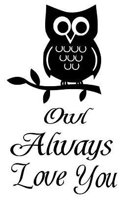 OWL ALWAYS LOVE YOU BABY VINYL WALL LETTERING WORDS BABY DECAL NURSERY STICKER