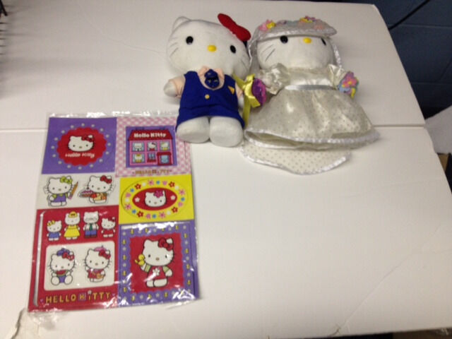 Hello Kitty Sanrio Wedding Plush 2000 8.5 inches tall and Magnets Collectibles