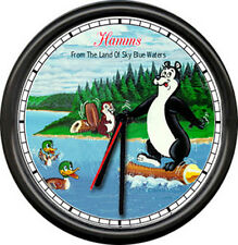 Hamm's Hamms Costume Beer Bear On A Log Beavers Refresing Bar Sign Wall Clock