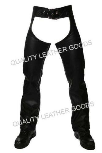 100/% GENUINE LEATHER CHAPS WITH FRONT BUCKLE AND BACK LACING MOTORCYCLE