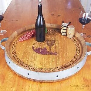 Wine Barrel Top Lazy Susan Turntable Rustic Furniture W Engraving