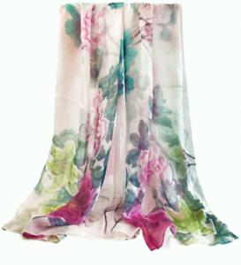 100/% Silk Scarf Women neckerchief Shawl Wrap large Floral red gray green XM02-21