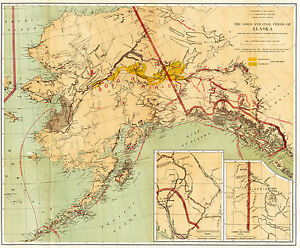 1891 Map The Gold And Coal Fields Of Alaska Gold Rush Wall Art Poster History Ebay