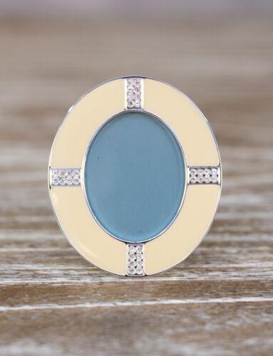 Set of 3 Mini Photo Frame Cream Enamel Diamante Shape Homewares Gift 7cms