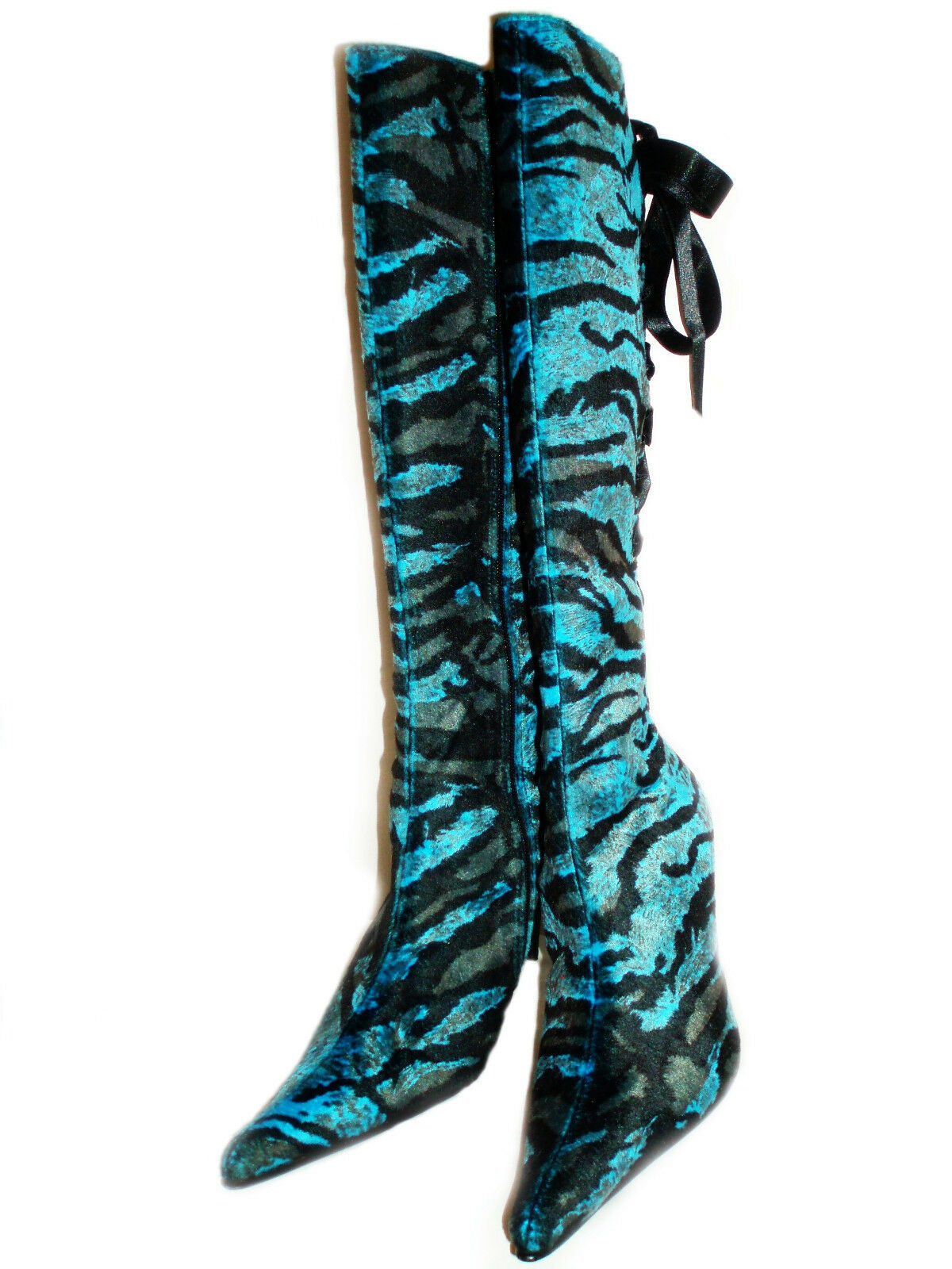 New blau Lace Braun Tiger Suede Stiefel Knee-high Lace blau up back Heels Size 9 295f51
