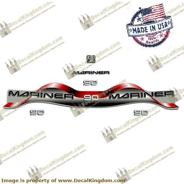 Mariner 1996 -2000 Outboard Engine Decals (Multiple HP) 3M Marine Grade rot  Blau