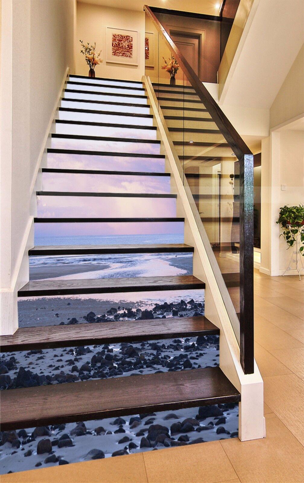 3D Sea Stone Sunset Stair Risers Dekoration Foto Mural Vinyl Decal Wallpaper UK