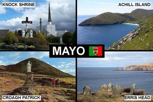 SOUVENIR FRIDGE MAGNET of COUNTY MAYO IRELAND KNOCK CROAGH PATRICK ACHILL