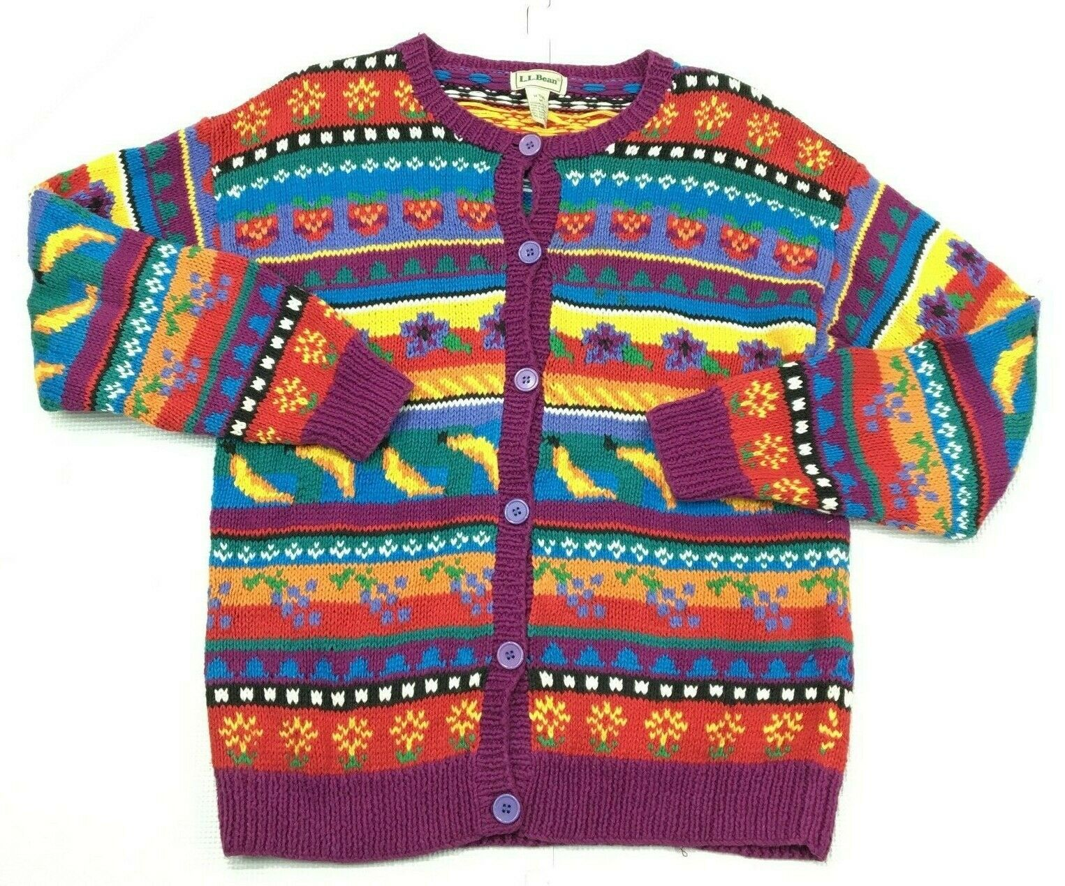 Vintage LL Bean Ugly Novelty Cotton Blend Cardigan Sweater Womens Medium STAINED