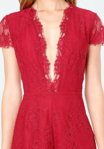 $219 NWT bebe crimson dark red deep v neck lace floral top dress romper M Medium