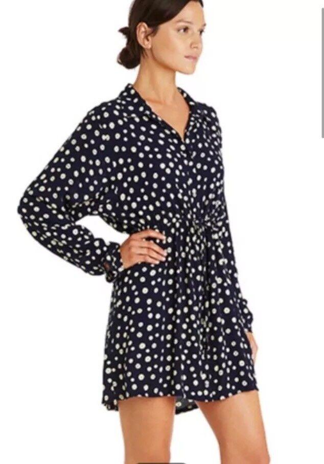 Tigerlily Sisilia Shirt Dress Blau Sz 10 Cotton Weiß Dots