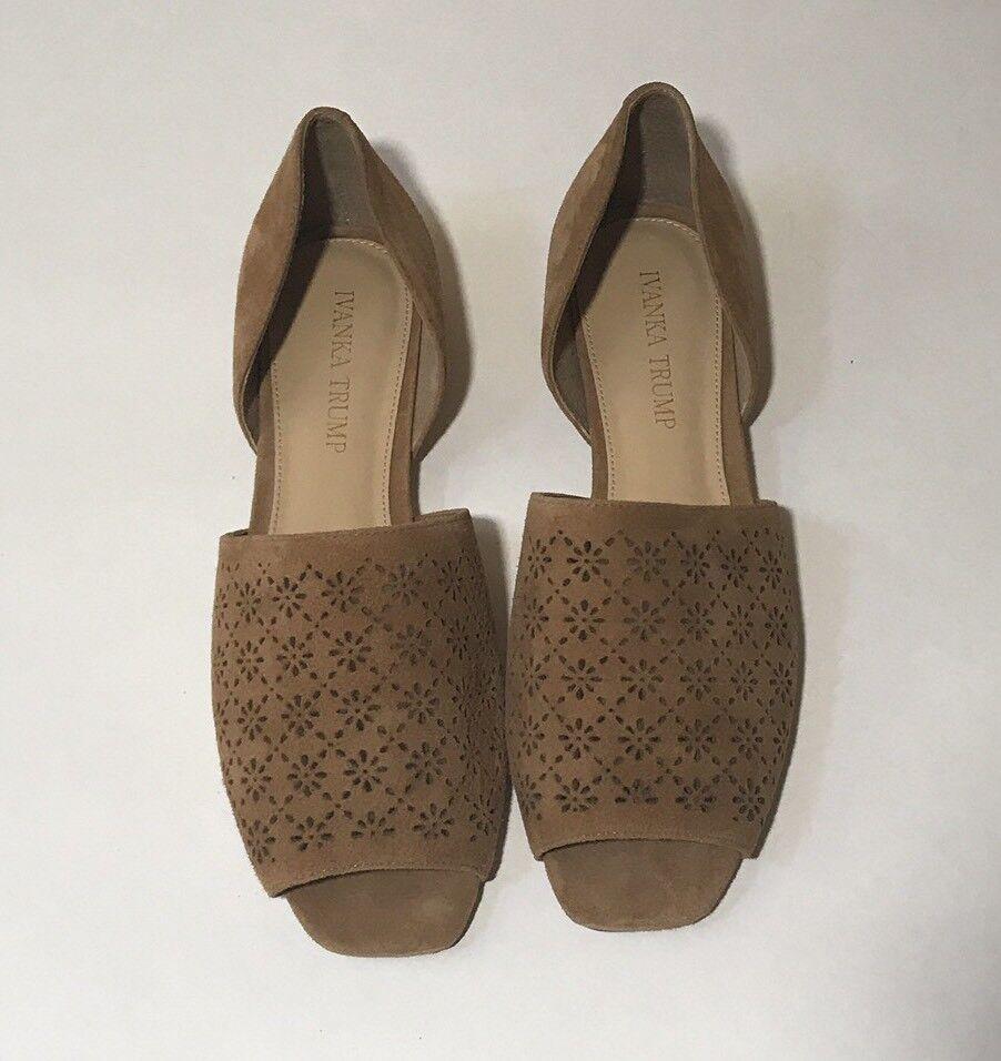 Ivanka Trump Tan Suede Slip On Women's shoes Size 7 1 2 Peep Toe Flats