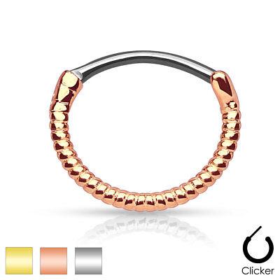 TWIST NOSE Hoop CLICKER Septum Ear Helix Cartilage Snug Tragus RINGS Piercings