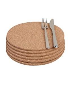 Corcho-natural-resistente-al-calor-Manteles-Individuales-Tapetes-Pack-de-4-Redondo-20-cm-de-diametro