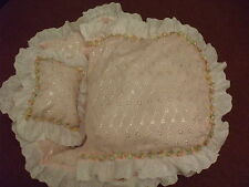 """18"""" REBORN CRIB FIT ASHTON DRAKE DOLL 18"""" WITH QUILT AND PILLOW PINK BRODERIE"""