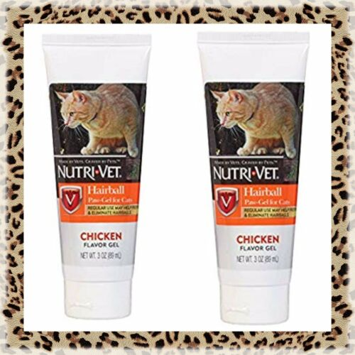 Lot X2 Nutri-Vet Feline Hairball Paw-Gel Chicken 3 oz Free Catnip Global Ship