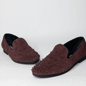 22de65f9256 Details about Steve Madden Mens Size 9 Burgundy Cascade Driving Shoes Slip  Ons Studded Spikes