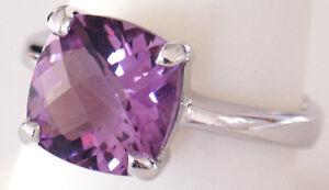 Gorgeous Woman Medium Purple Amethyst Checkerboard cut Silver Ring  #152