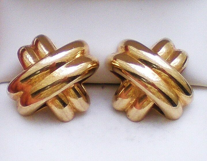 Designer 14K Yellow gold Hugs Cris Cross Pierced Post EARRINGS 14kt 3.4 grams