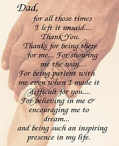 Dad Thank You Personalized Poem Memory Birthday Fathers Day Gift Ebay