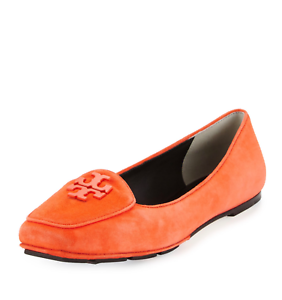 0c016efa56a4d8 Image is loading Tory-Burch-Fitz-Suede-Logo-Loafer-Poppy-Red