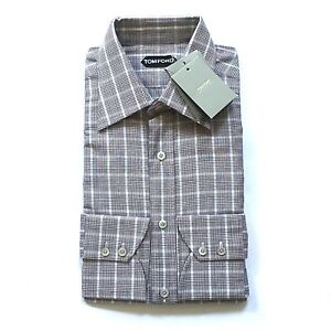 NWT-635-TOM-FORD-Mens-Brown-Glen-Plaid-Button-Down-Dress-Shirt-16-41-AUTHENTIC