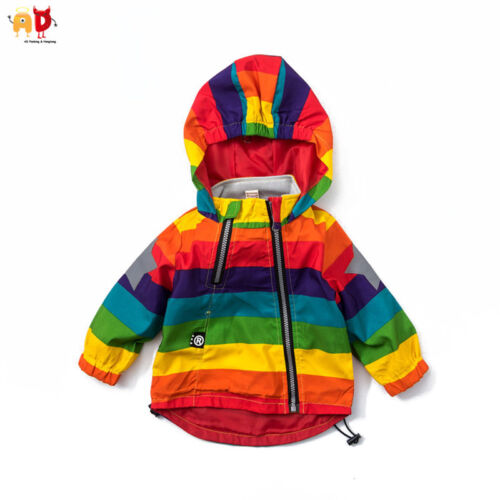 AD Colorful Boy Girl Rainbow Coat Sun protection Outwear Water-proof Jacket  936