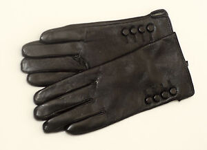New-Ladies-Soft-Leather-Gloves-Button-Fully-Lined-Black-Blue-Green-Red-Purple