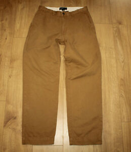 L Trousers Ralph Lauren Size 32 Jeans 30 Cotton Polo Casual Brown Zip Tapered FqRZcwB