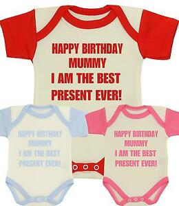 Image Is Loading BabyPrem Baby Clothes HAPPY BIRTHDAY MUMMY Mum Bodysuit