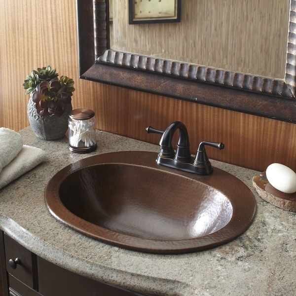 Copper Bathroom Sink Bath Vanity Hammered Finish Oval Bowl Single Drop Faucet For Online Ebay