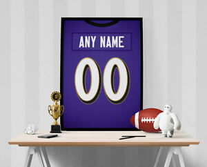 Baltimore Ravens Jersey Poster - Personalized Name & Number FREE US SHIPPING