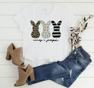 Floral Easter Bunny My Peeps Easter Bunny Tee Shirt Blessed Tees Cute Funny Easter TShirt My Peeps Shirt Leopard Bunny Easter T-Shirt